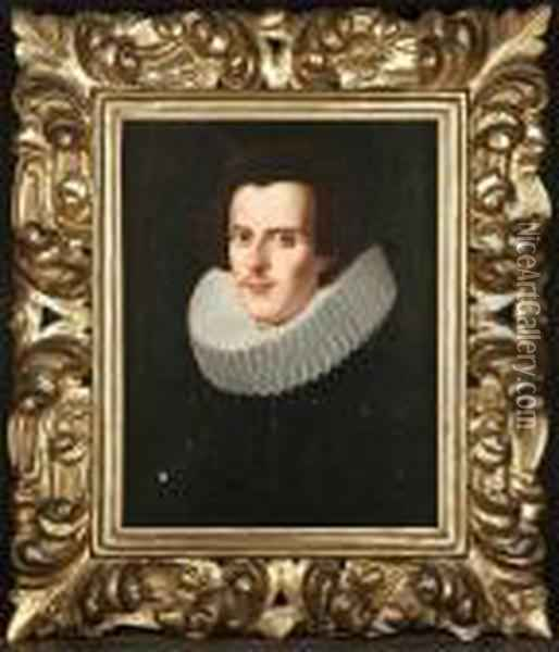 Portrait Of A Gentleman In A Black Costume With A Ruff Oil Painting - Justus Sustermans