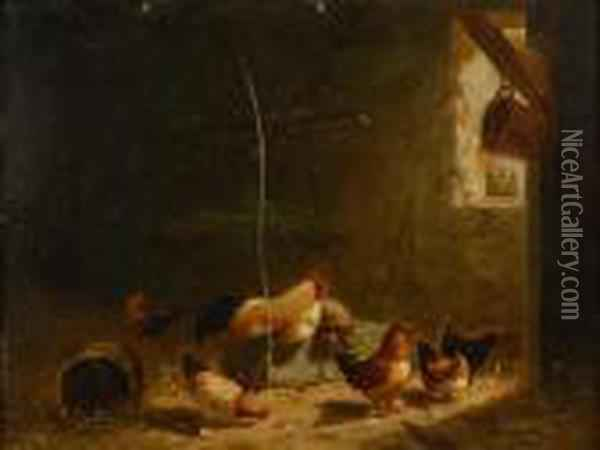 Barn Interior With Chickens Oil Painting - Arthur Fitzwilliam Tait