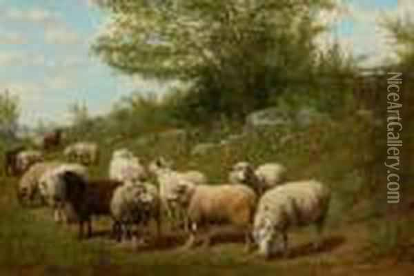 Landscape With Sheep Oil Painting - Arthur Fitzwilliam Tait