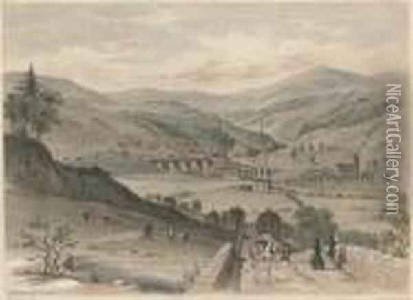 Views On The Manchester And  Leeds Railway: Todmorden, From The North; The Todmorden Valley, From  Above Mytholm Church; Rochdale Station; Littleboro And Rochdale;  Brighouse; Wakefield; Sowerby Bridge, From Kings Cross; West Entrance,  Summit Tunnel; Oil Painting - Arthur Fitzwilliam Tait