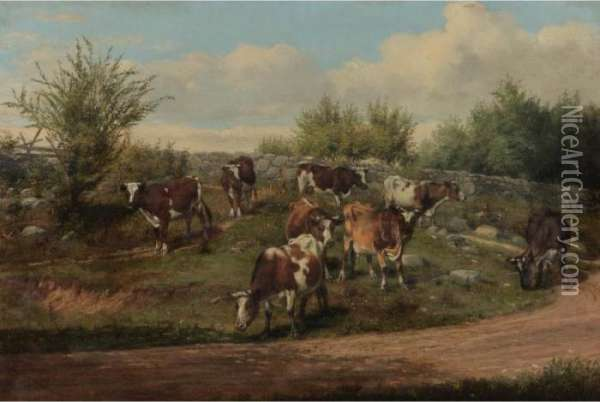 A Country Road--coming Home Oil Painting - Arthur Fitzwilliam Tait