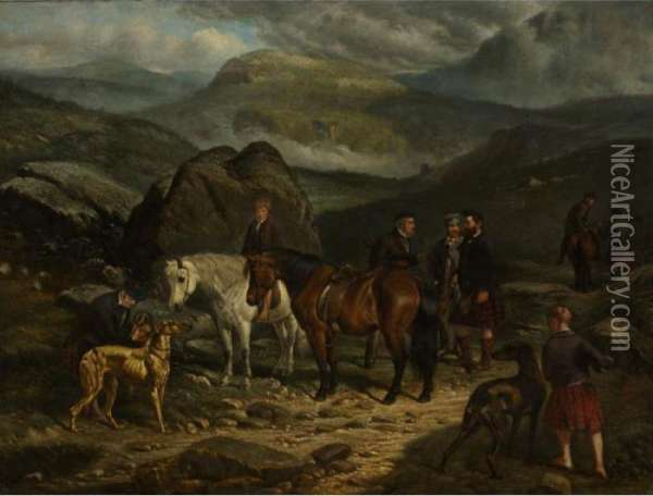 A Highland Hunting Party Oil Painting - Arthur Fitzwilliam Tait