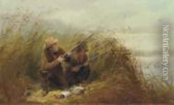 Duck Shooting With Decoys Oil Painting - Arthur Fitzwilliam Tait