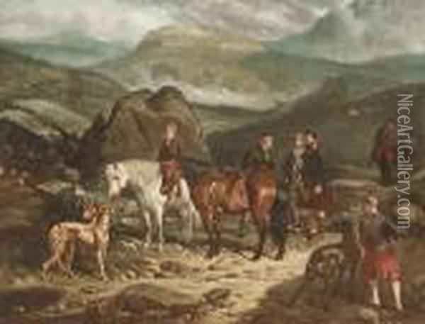 A Hunting Party In The Scottish Highlands Oil Painting - Arthur Fitzwilliam Tait
