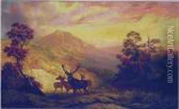 Elk In A Clearing With Mountains In The Distance Oil Painting - Arthur Fitzwilliam Tait