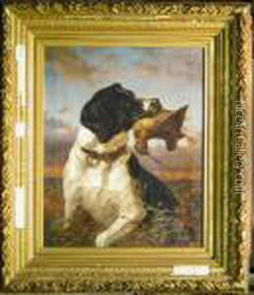 Pointer Retrieving A Woodcock Oil Painting - Arthur Fitzwilliam Tait