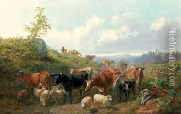 Down The Road In Franklin County, New York Oil Painting - Arthur Fitzwilliam Tait