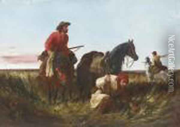 Trappers Following The Trail: At Fault Oil Painting - Arthur Fitzwilliam Tait