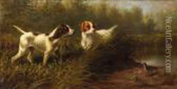 On Point, A Setter And Pointer Wih A Woodcock Oil Painting - Arthur Fitzwilliam Tait