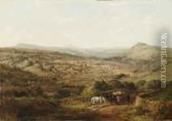 A View Of Halifax, Yorkshire; And A View Of Brighouse,yorkshire Oil Painting - Arthur Fitzwilliam Tait