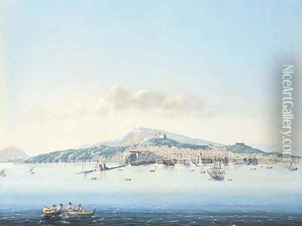 A view of the bay of Naples Oil Painting - Neapolitan School