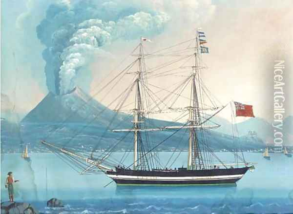 An English merchantman lying at anchor in the Bay of Naples with Vesuvius erupting beyond (illustrated) Oil Painting - Neapolitan School