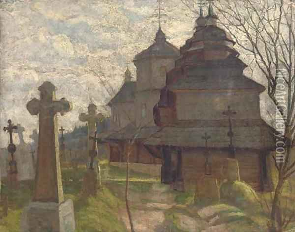 Before a Russian church Oil Painting - Russian School