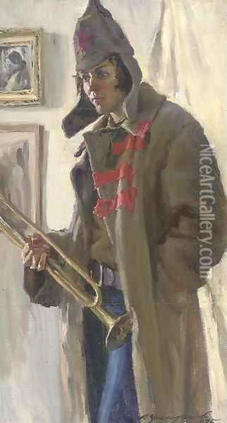 A young Russian soldier with a trumpet Oil Painting - Russian School