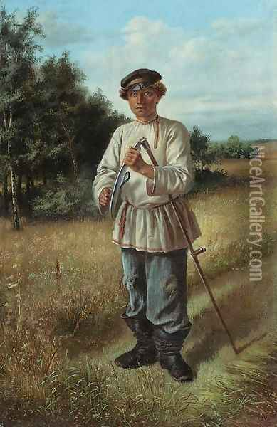 Portrait of a young Man with a Scythe Oil Painting - Russian School
