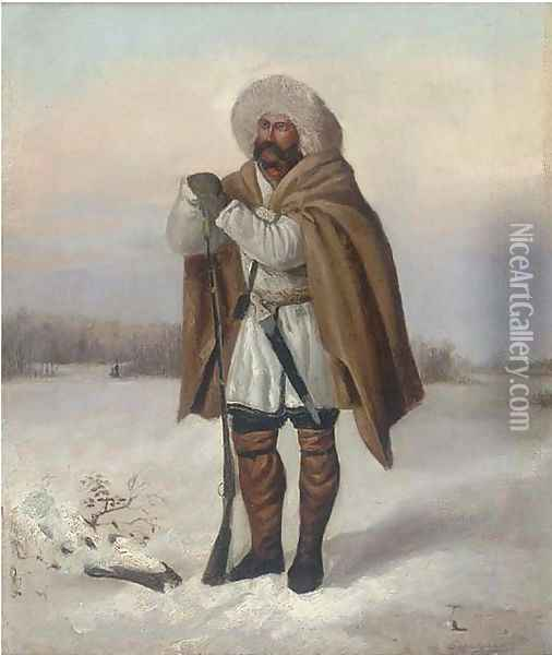 A huntsman in the snow Oil Painting - Russian School