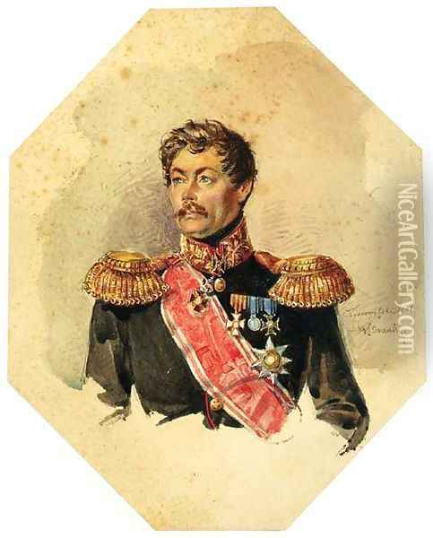 Portrait of a bemedalled Russian Officer Oil Painting - Russian School