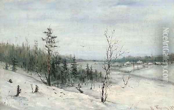 Winter woodland before a hamlet Oil Painting - Russian School