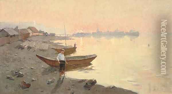 Fishing at sunset Oil Painting - Russian School