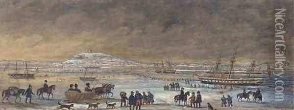 The port of Archangel in winter Oil Painting - Russian School