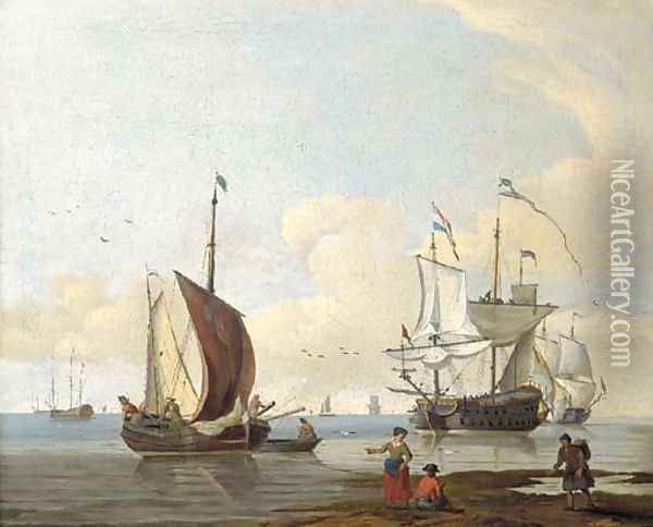 Dutch men'o-war and other shipping in calm seas, figures on a beach in the foreground Oil Painting - Abraham Jansz. Storck