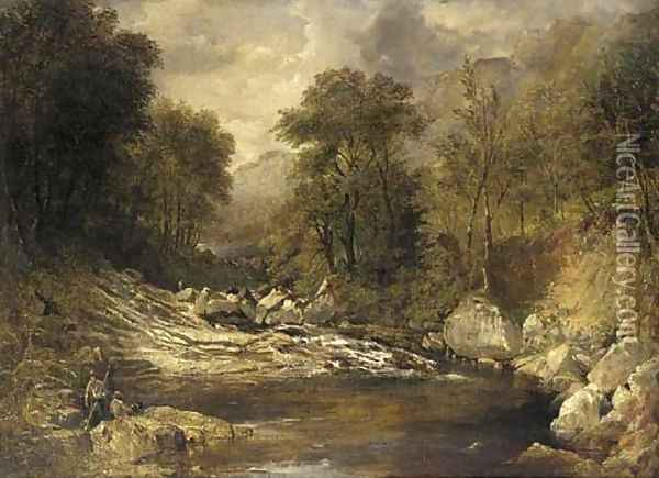 Anglers in a mountainous river landscape Oil Painting - John Brandon Smith
