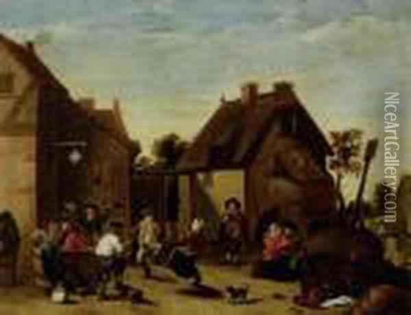Festive Gathering In A Village Oil Painting - David The Younger Teniers