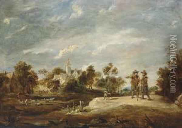 A Wooded Landscape With Two Figures Conversing, A Church Beyond Oil Painting - David The Younger Teniers