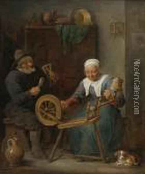 An Elderly Couple Spinning Wool In An Interior Oil Painting - David The Younger Teniers