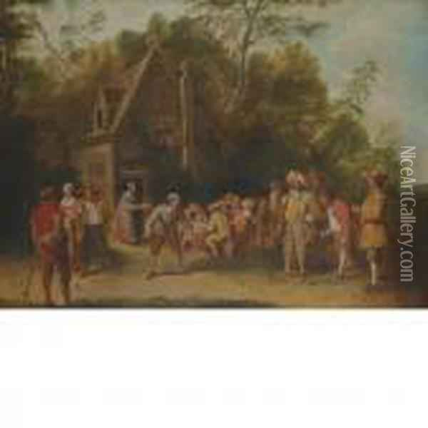 A Game Of Lawn Bowling Before A Tavern Oil Painting - David The Younger Teniers