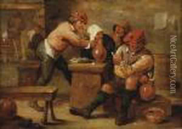 Ii Peasants Drinking And Smoking In An Inn Oil Painting - David The Younger Teniers