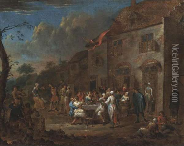 A Village Fete Oil Painting - David The Younger Teniers