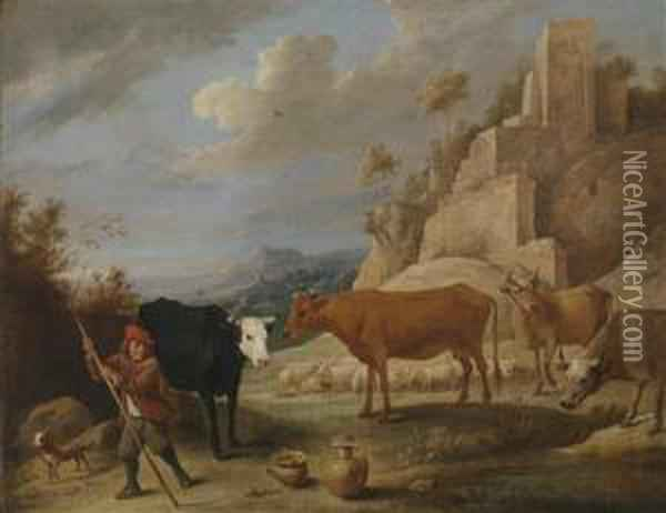 A Shepherd And His Flock In A Landscape With Ruins Oil Painting - David The Younger Teniers