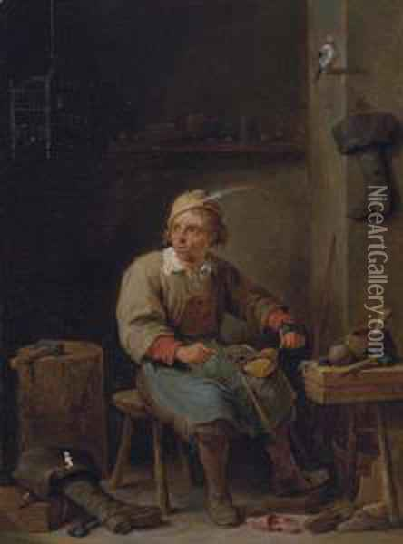 A Shoemaker In His Workshop, With Boots, Tools And A Jaybird Oil Painting - David The Younger Teniers