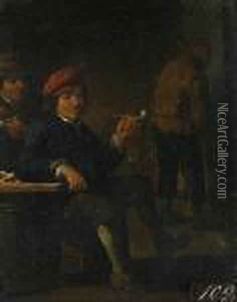 Topers In An Interior Smoking Oil Painting - David The Younger Teniers