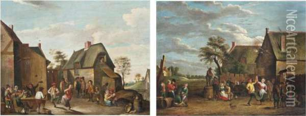 Peasants Dancing Before An Inn; And Peasants Merry Making Before A Barn Oil Painting - David The Younger Teniers