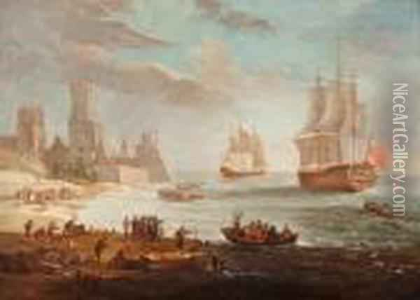 The Provisioning Of English Ships Near The Coast Oil Painting - David The Younger Teniers