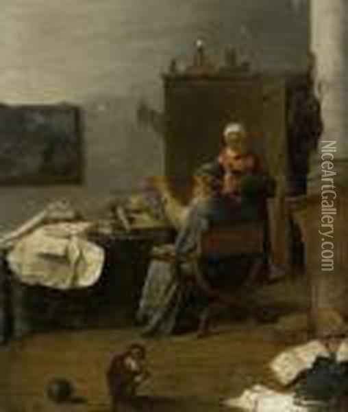 An Alchemist In His Study Oil Painting - David The Younger Teniers