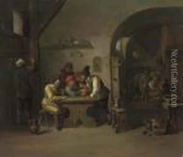 Figures Playing Games In A Tavern Oil Painting - David The Younger Teniers