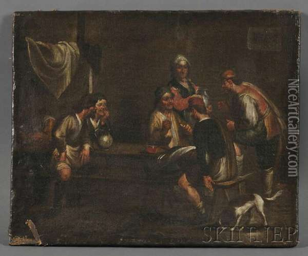 Tavern Interior Oil Painting - David The Younger Teniers