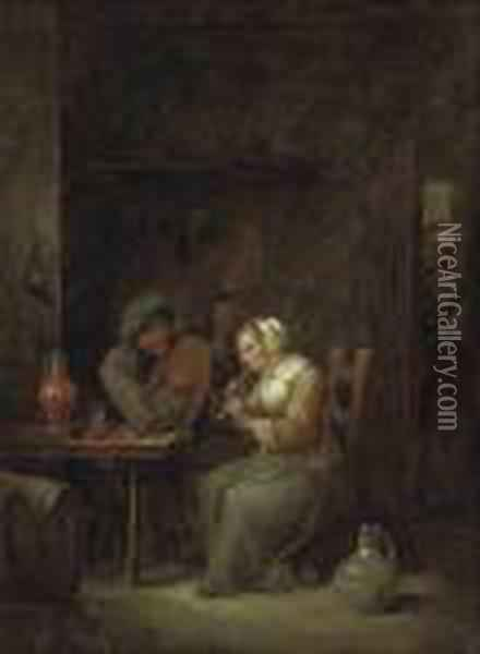 Two Figures Playing Music In A Rustic Interior Oil Painting - David The Younger Teniers