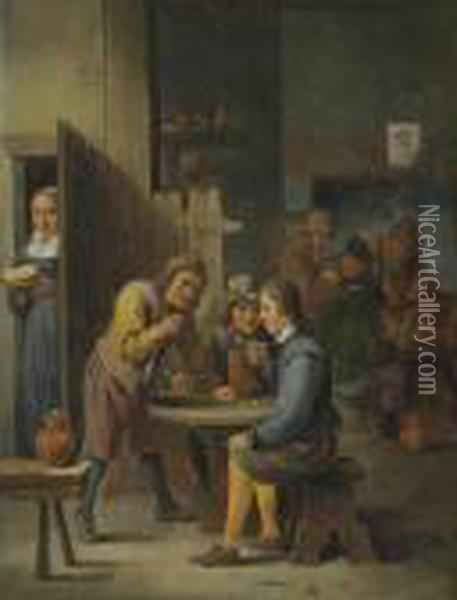 Figures In A Tavern Interior Oil Painting - David The Younger Teniers