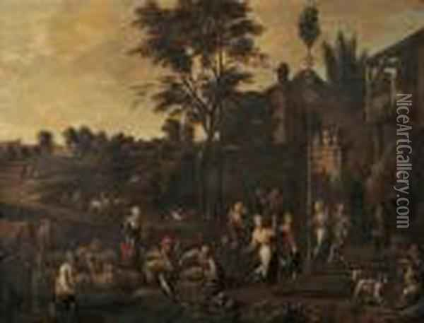 Peasants Dancing Outside A Village Gate Oil Painting - David The Younger Teniers