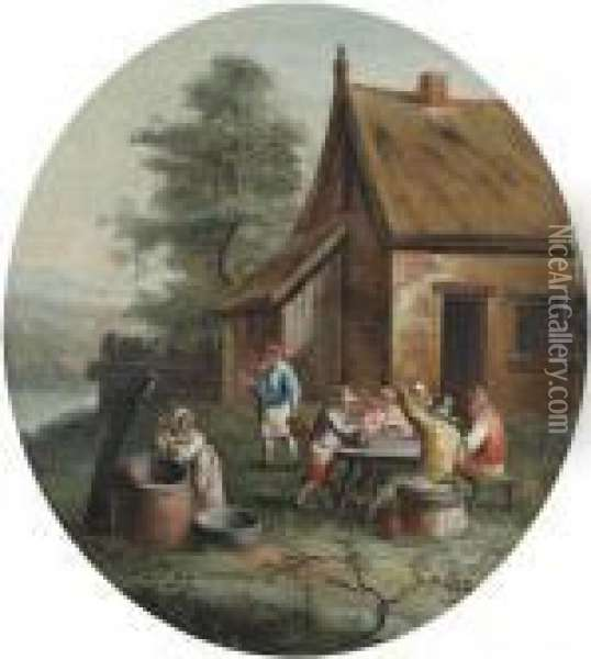Herbergscene In Openlucht. Oil Painting - David The Younger Teniers
