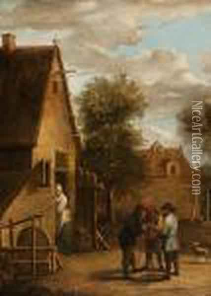 A Chat In Front Of The House Oil Painting - David The Younger Teniers