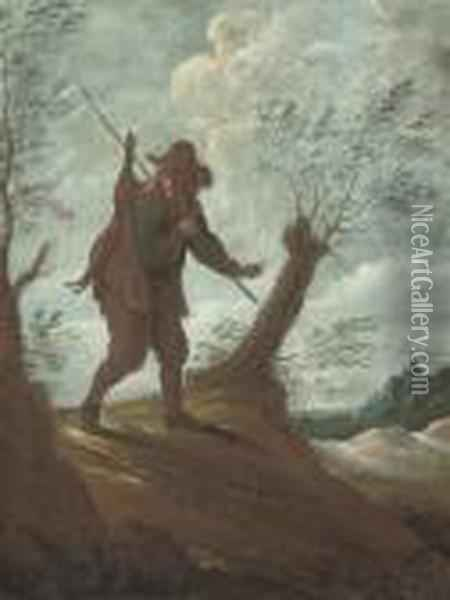 A Sportsman Carrying A Dead Hare In A Landscape Oil Painting - David The Younger Teniers