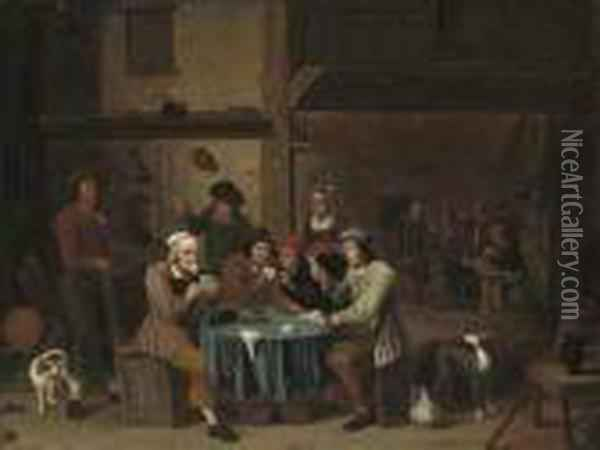 Card Players In An Interior Oil Painting - David The Younger Teniers