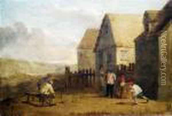 Bowling Peasants In Front Of An Country Inn. Oil Painting - David The Younger Teniers