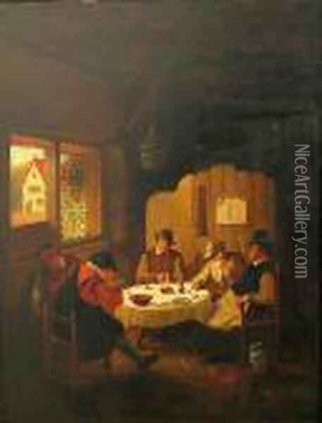 A Tavern Interior With Figures Oil Painting - David The Younger Teniers