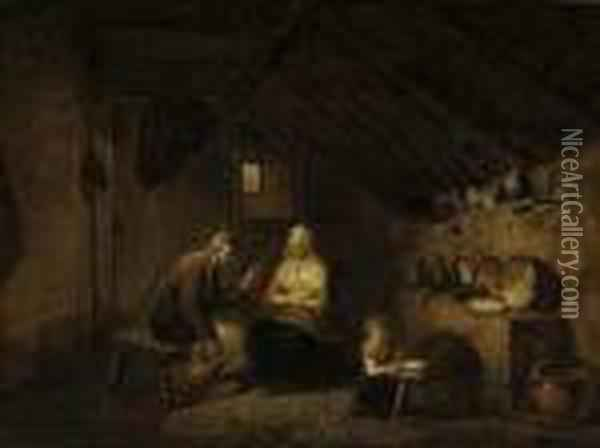 A Peasant Family In A Kitchen Interior Oil Painting - David The Younger Teniers